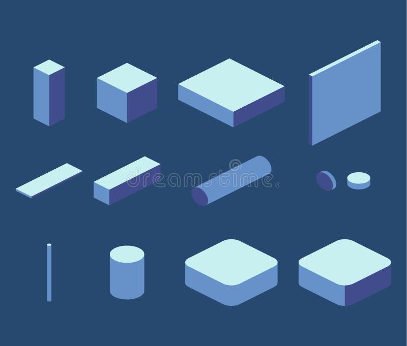 Skära i tärningar kvadrerar enkla beståndsdelar för isometriskt begrepp för lägenhet 3D, rektangeln stock illustrationer