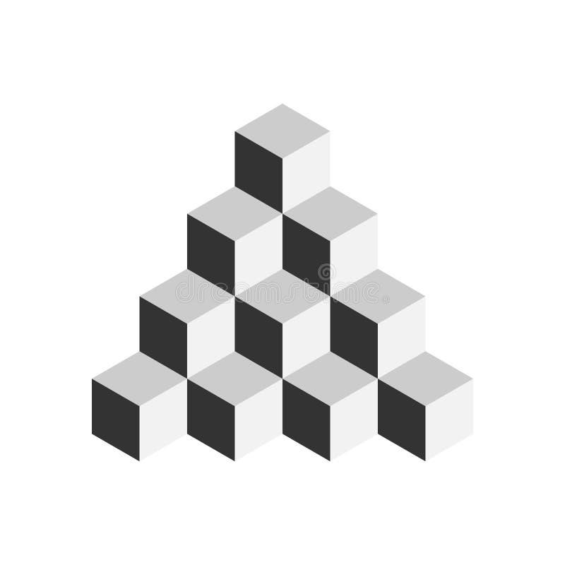 skära i tärningar pyramiden illustration för vektor som 3d isoleras på vit bakgrund vektor illustrationer