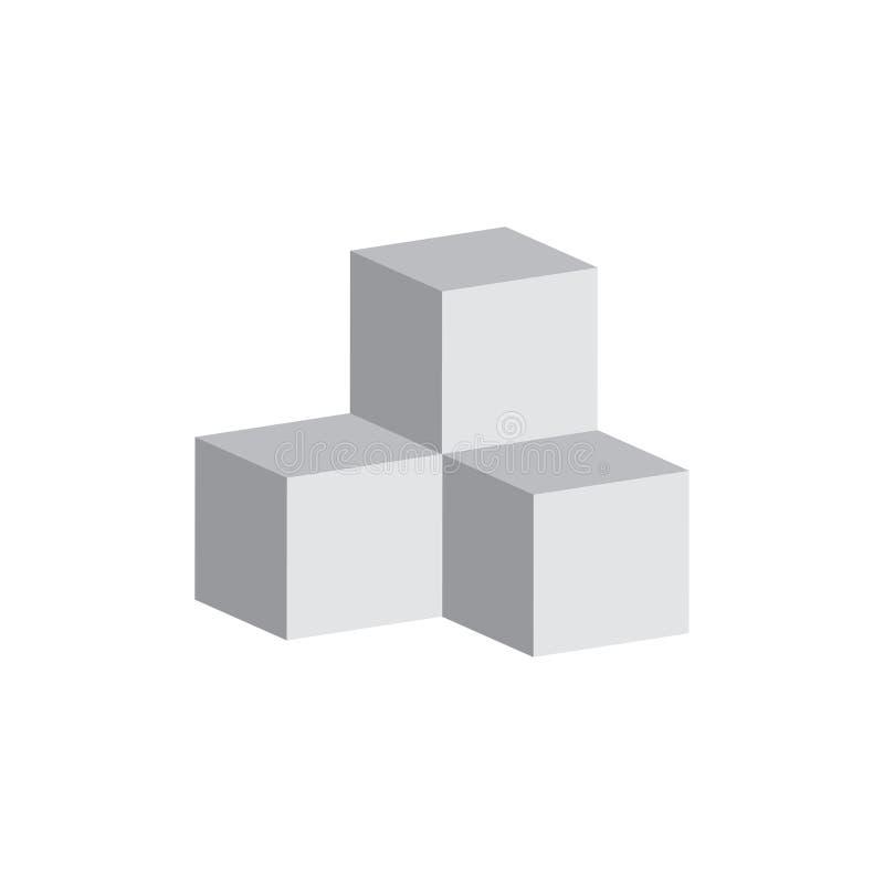 Skära i tärningar symbolen, vektorillustration i plan isometrisk stil 3D stock illustrationer