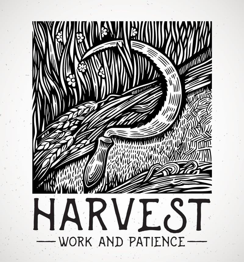 Skära som ligger i ett fält stock illustrationer