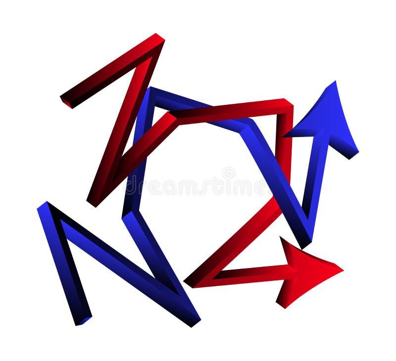 Skärande riktningspilar korsad affärsidé för symbol 3d Vektorillustration som isoleras på vit bakgrund vektor illustrationer