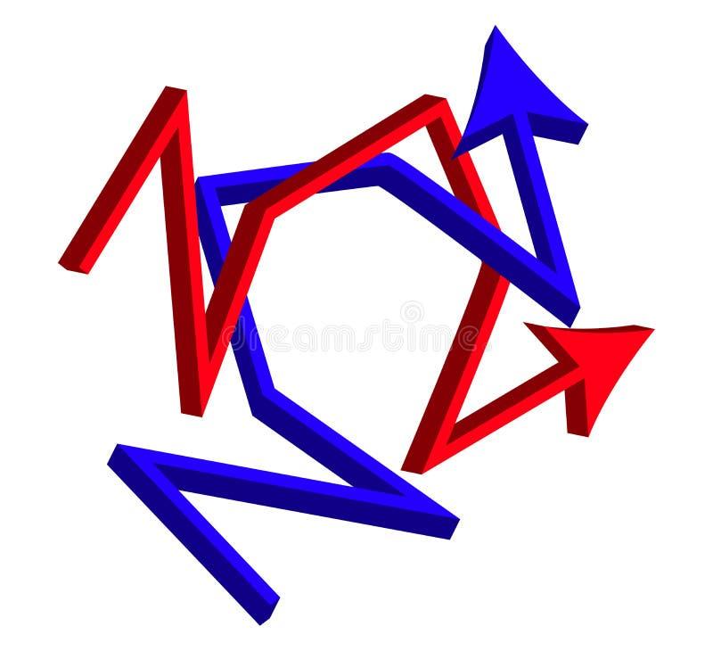 Skärande riktningspilar korsad affärsidé för symbol 3d Vektorillustration som isoleras på vit bakgrund royaltyfri illustrationer