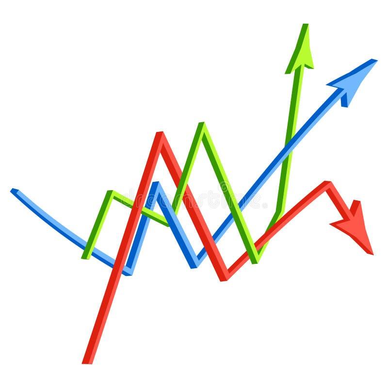 Skärande riktningspilar korsad affärsidé för symbol 3d white för vektor för bakgrundsillustrationhaj stock illustrationer
