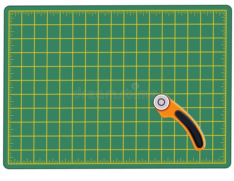 skärare som klipper mattt roterande royaltyfri illustrationer