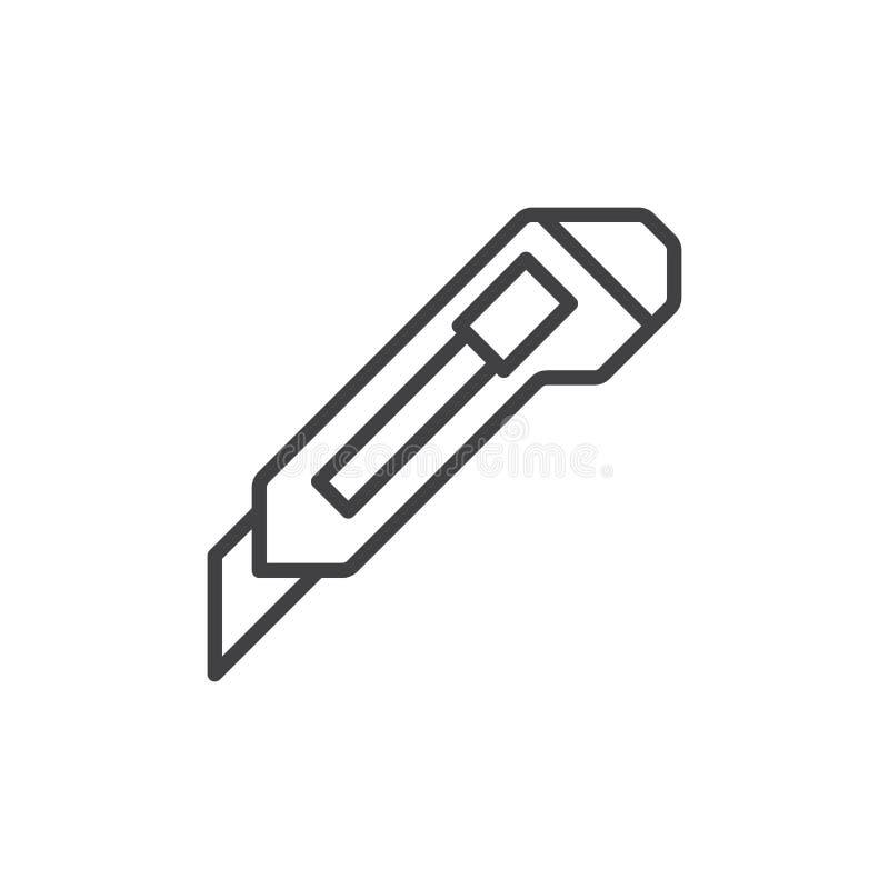 Skärareknivlinje symbol, översiktsvektortecken, linjär stilpictogram som isoleras på vit stock illustrationer