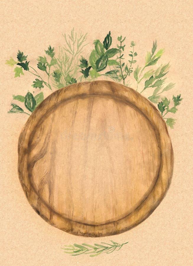 Skärbräda för runt trä och nya örter på kraft papper Vattenfärg hand-målad illustration vektor illustrationer