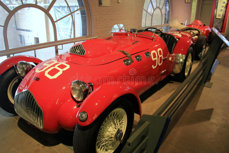 Skärm av Allard 1950 J2, Saratoga auto museum, New York, 2015 arkivfoton