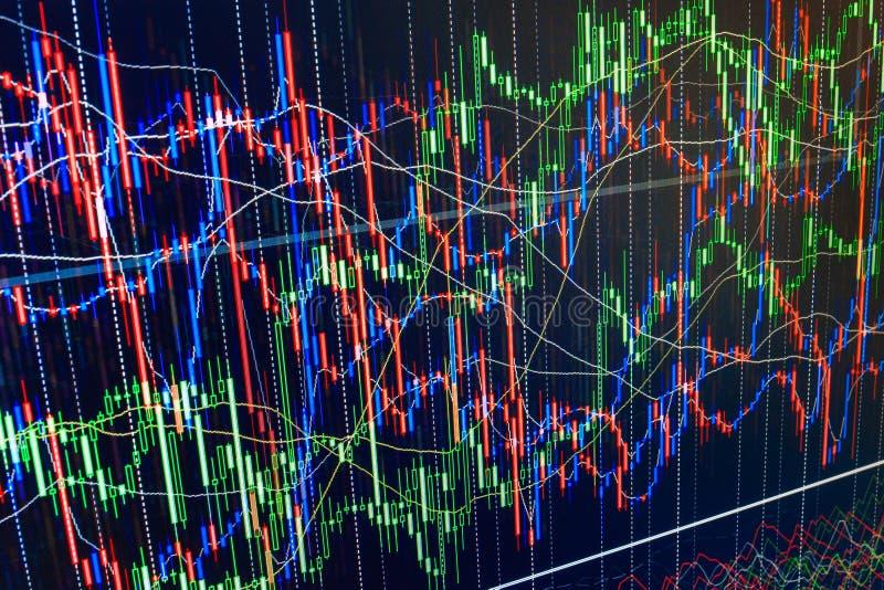 Skärm av grafen för aktiemarknadcitationsteckendiagram på gräsplan för abstrakt handel för finansiell bakgrund för M färgrik, blå stock illustrationer