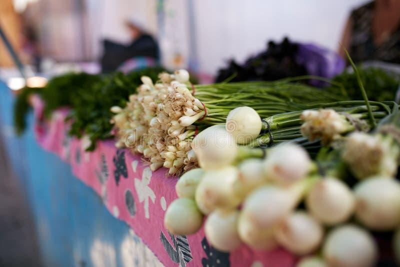 Skärm av ny grön och vita lökar och vitlök Frukter och grönsaker på en bondesommar marknadsför royaltyfri foto