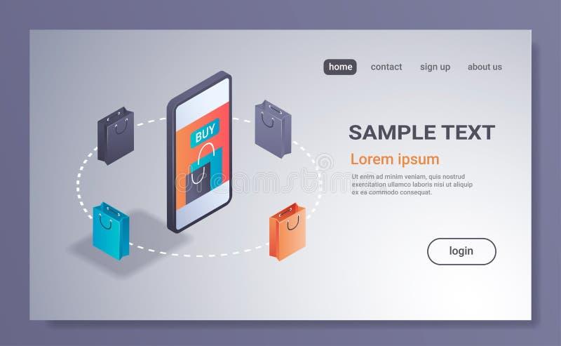 skärm 3d för smartphone för marknadsföring för lager för internet för begrepp för mobil applikation för E-kommers försäljningar o stock illustrationer