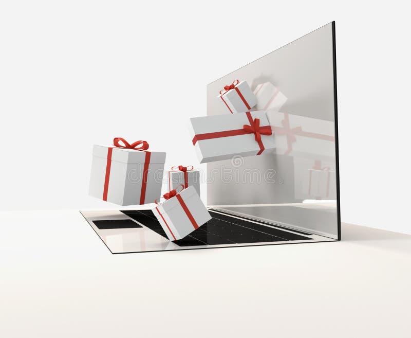 Skärm 3d-illustration för gåvor för datoranteckningsbokbärbar dator vektor illustrationer