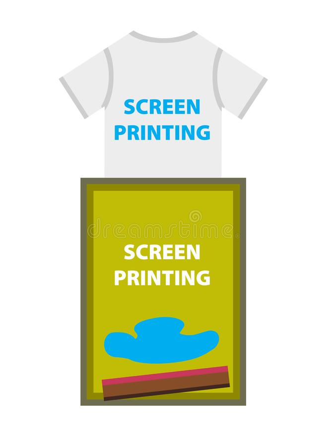 Skärm- eller silkeprinting - utskrivaven blå text på t-skjortan vektor illustrationer