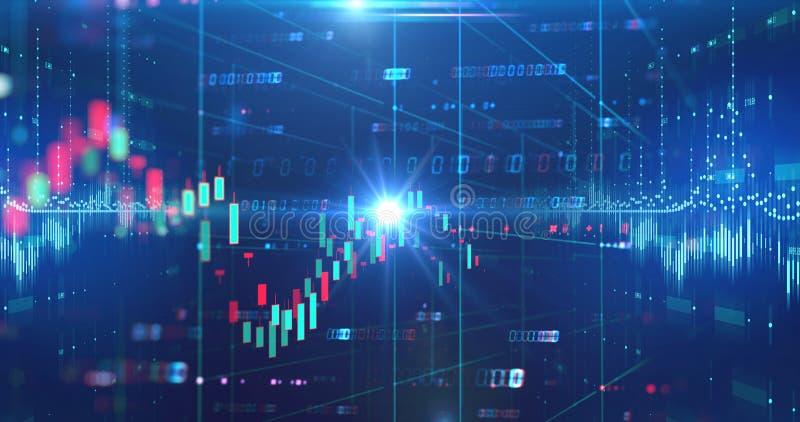 Skärm för aktiemarknaddiagramdata på teknologibakgrund royaltyfri illustrationer