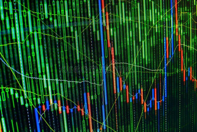 Skärm för aktiemarknadgraf- och för stångdiagram pris Färgrik gräsplan för abstrakt handel för finansiell bakgrund, blått, rött a arkivbild