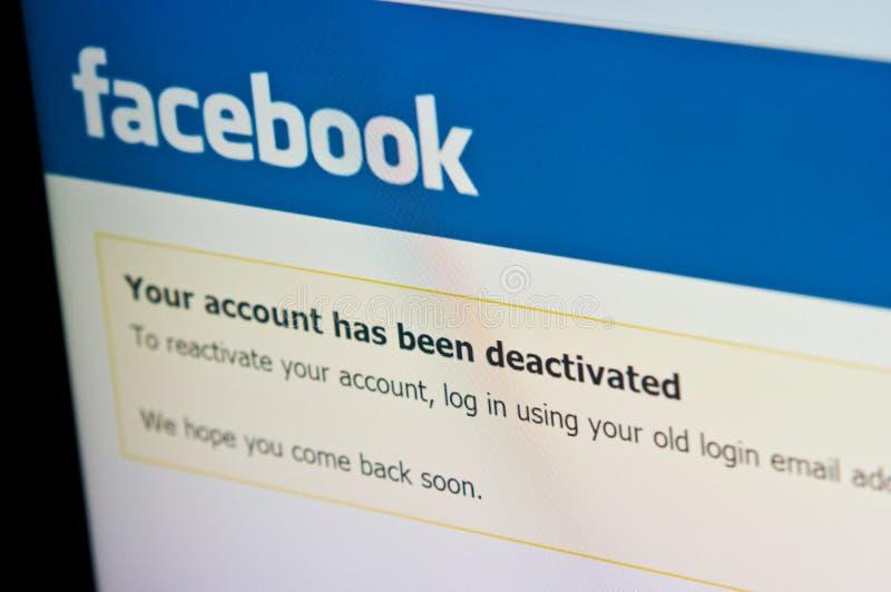 Skärm för Facebook kontoinaktivering, socialt massmedia royaltyfri bild
