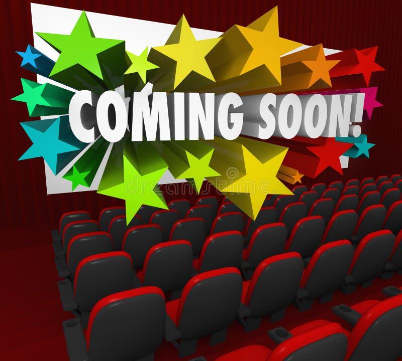 Skärm för filmteater som snart kommer ny dragning för förtittsläp royaltyfri illustrationer