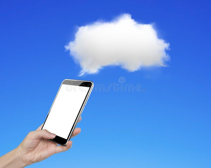 Skärm för hållande tumme för smartphone för kvinnahand rörande med vit c arkivfoto