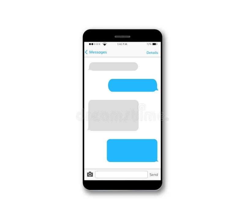 Skärm för mobiltelefon för meddelandetextask stock illustrationer