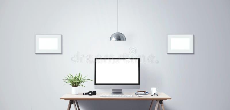 Skärm för skrivbords- dator Modern idérik workspacebakgrund Bekläda beskådar fotografering för bildbyråer