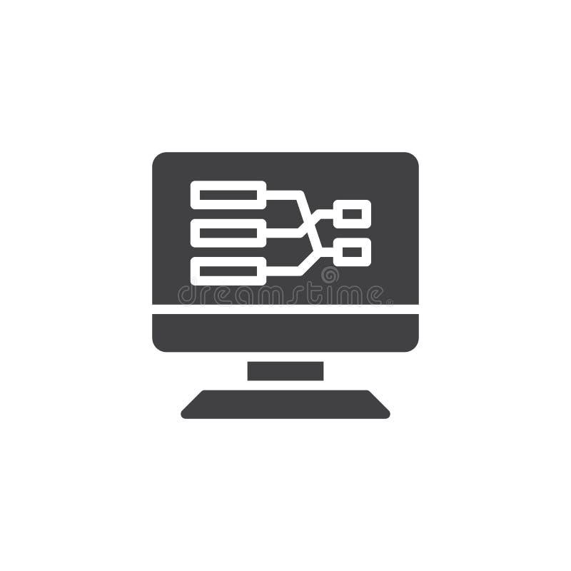 Skärm för skrivbords- PC med symbolen för vektor för flödesdiagram royaltyfri illustrationer