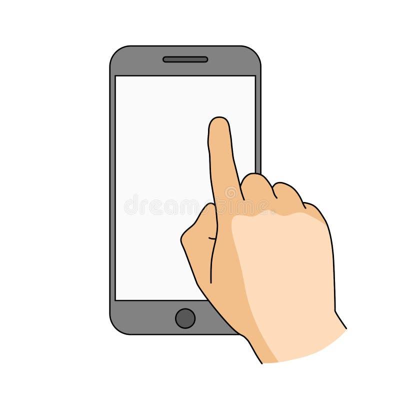 Skärm för smartphone för fingerhandlagmellanrum Modernt begrepp för rengöringsdukbaner, websites, infographics Mobil app-modell I royaltyfri illustrationer