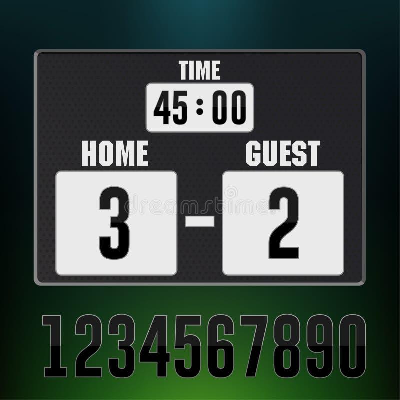 Skärm för sportar för funktionskortstadion elektronisk, fotbollsmatchtidnedräkning vektor vektor illustrationer