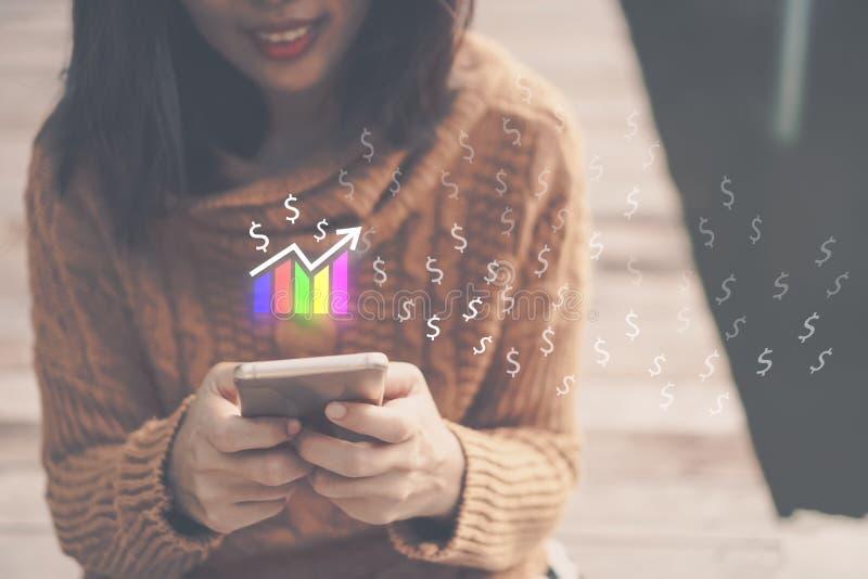 Skärm för symbol för marknadsmaterielgraf av smartphonebakgrund Finansiellt drömliv för affärsteknologifrihet genom att använda i arkivbild