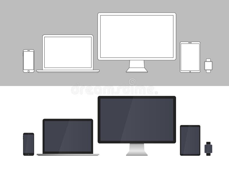 Skärmar för elektroniska apparater som isoleras på vit bakgrund vektor illustrationer