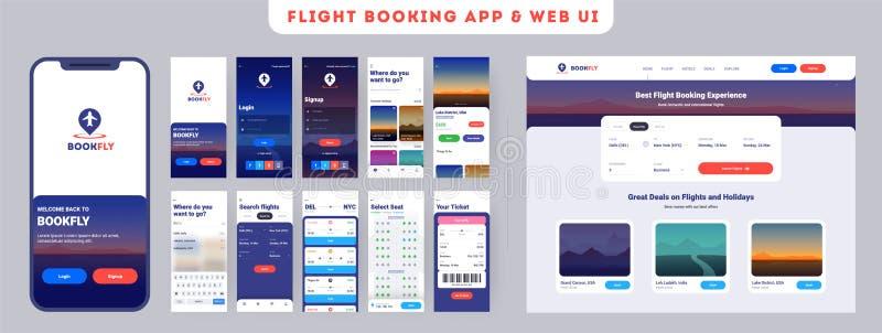 Skärmar för meny för website för online-app för flygbokning mobil onboarding royaltyfri illustrationer