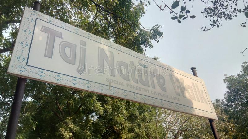 Skärmbräde utvändiga Taj Nature Walk royaltyfri foto