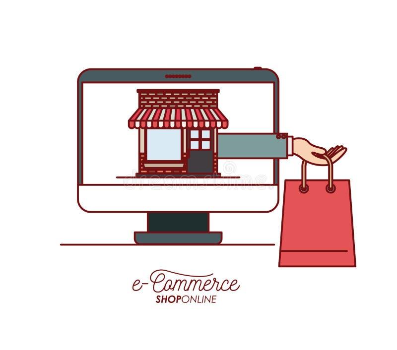 Skärmdatoren med tapeten inom med e-kommers för shopping för lagringshus- och handinnehavpåse shoppar direktanslutet på vit royaltyfri illustrationer