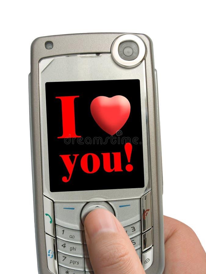 skärmhanden älskar jag den mobila telefonen dig royaltyfria bilder