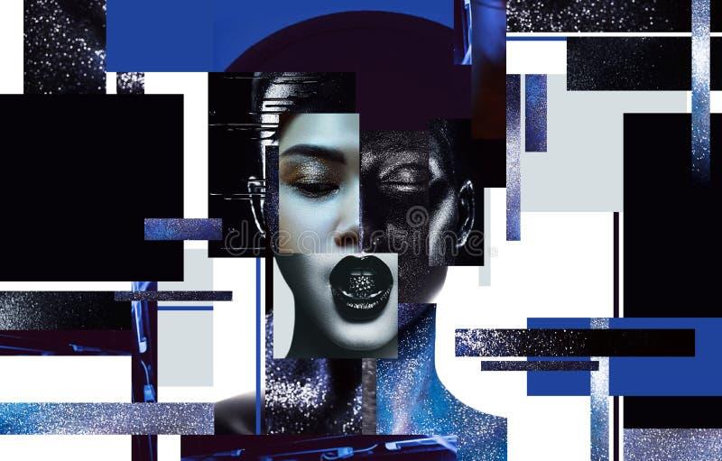 Skład kobieta portrety z czarną i błękitną ciało sztuką ilustracja wektor