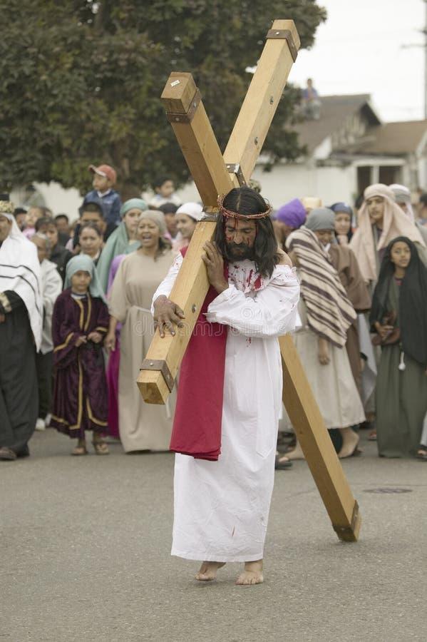 skådespelare som beskriver den Jesus Kristus royaltyfri bild