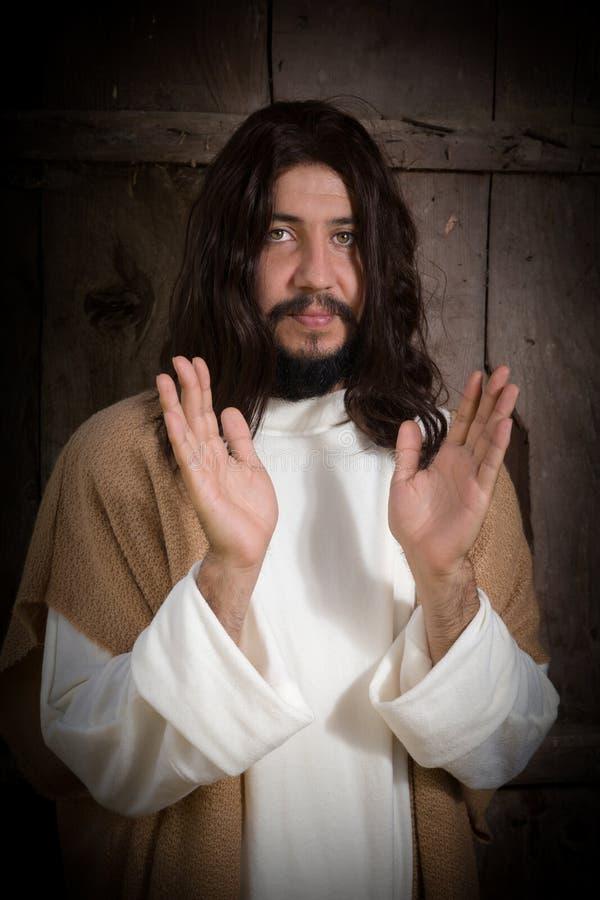 Skådespelare som Jesus att predika royaltyfri foto
