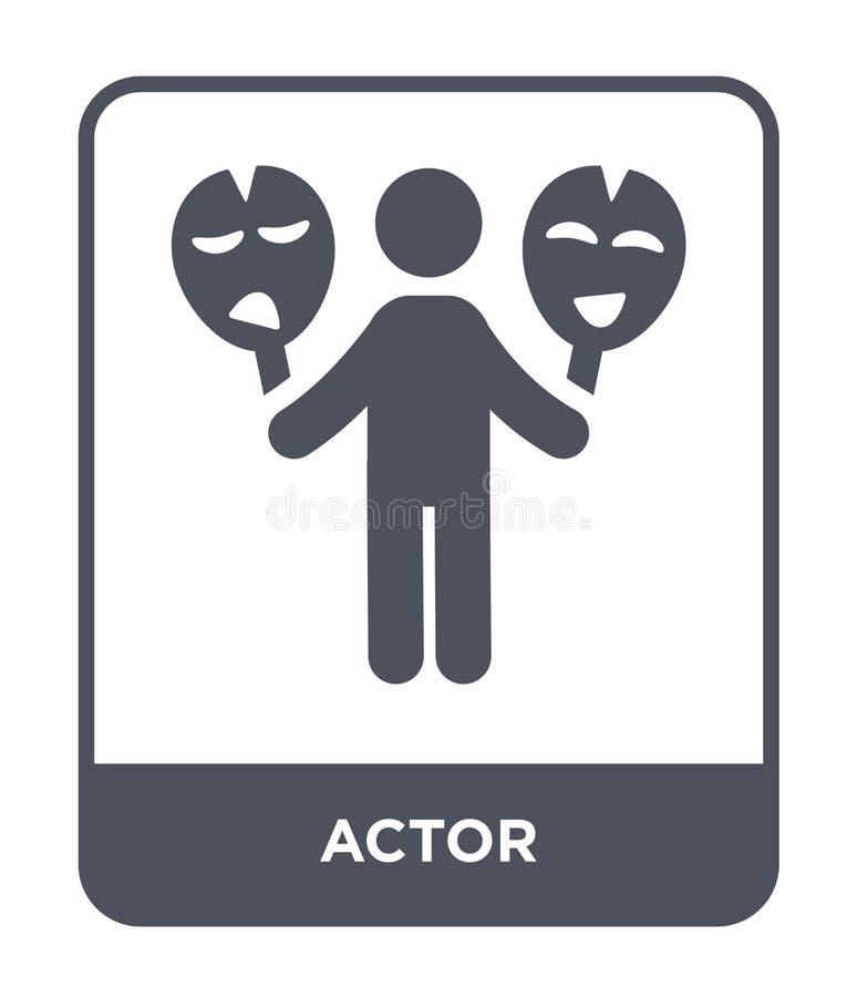 skådespelaresymbol i moderiktig designstil skådespelaresymbol som isoleras på vit bakgrund enkelt och modernt plant symbol för sk stock illustrationer
