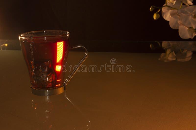 Skåp och individuell teapot fyllda med jamaica-blommor som hänger i teapoten och lägger sig på bordet medan en stav med vitt arkivfoton