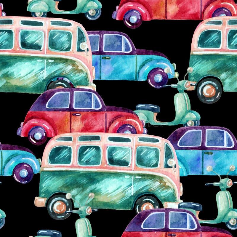 Skåpbil, bil och sparkcykel för vattenfärghippiecampare stock illustrationer