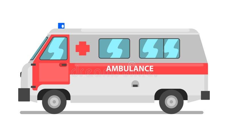 Skåpbil för ambulansservice, nöd- medicinsk medelvektorillustration på en vit bakgrund stock illustrationer