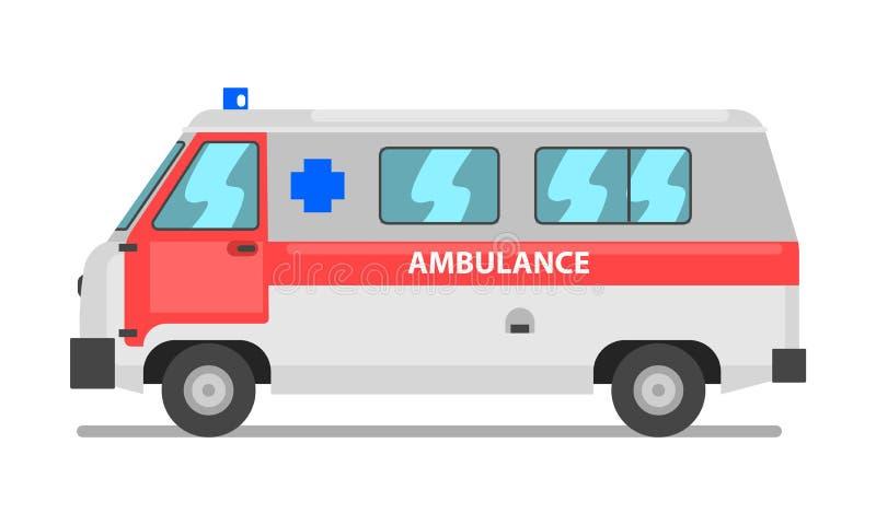 Skåpbil för ambulansservice, nöd- medicinsk medelvektorillustration på en vit bakgrund royaltyfri illustrationer