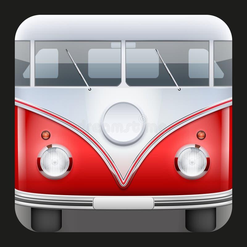Skåpbil för campare för fyrkantig buss för symbol populär klassisk royaltyfri illustrationer