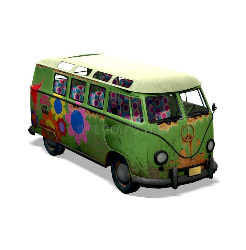 Skåpbil för hippie för VW-förälskelsebarn royaltyfri illustrationer