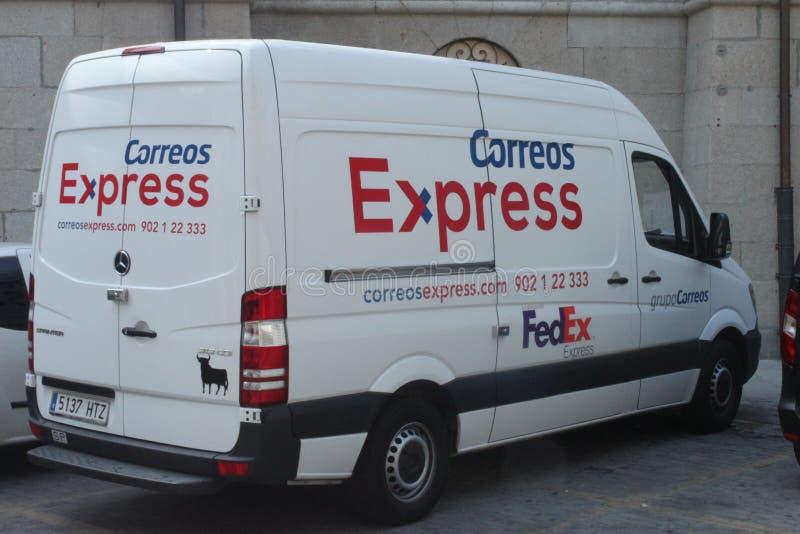 Skåpbil för spanjorstolpeleverans royaltyfri foto
