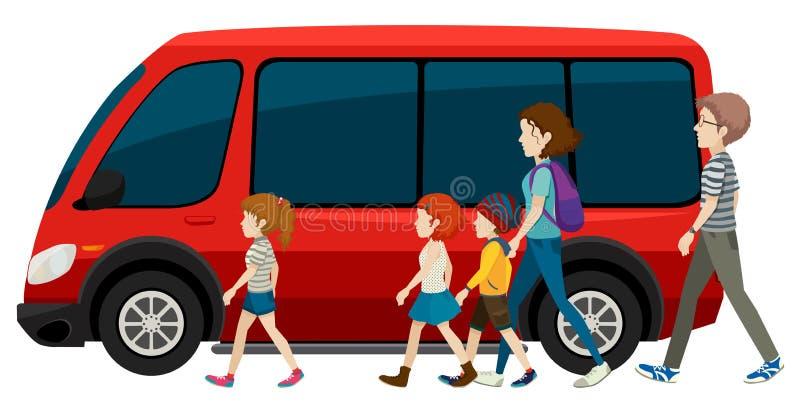 Skåpbil och familj stock illustrationer