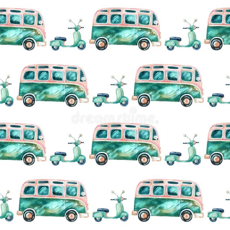 Skåpbil och sparkcykel för vattenfärghippiecampare royaltyfri illustrationer