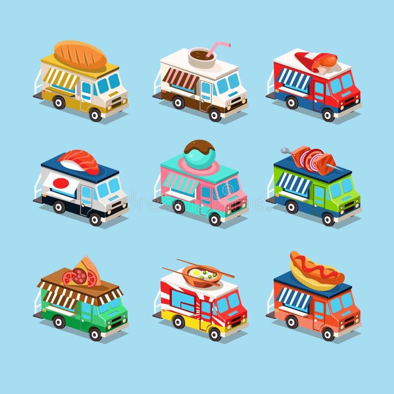 Skåpbilar med mat utformar in ett isometriskt royaltyfri illustrationer