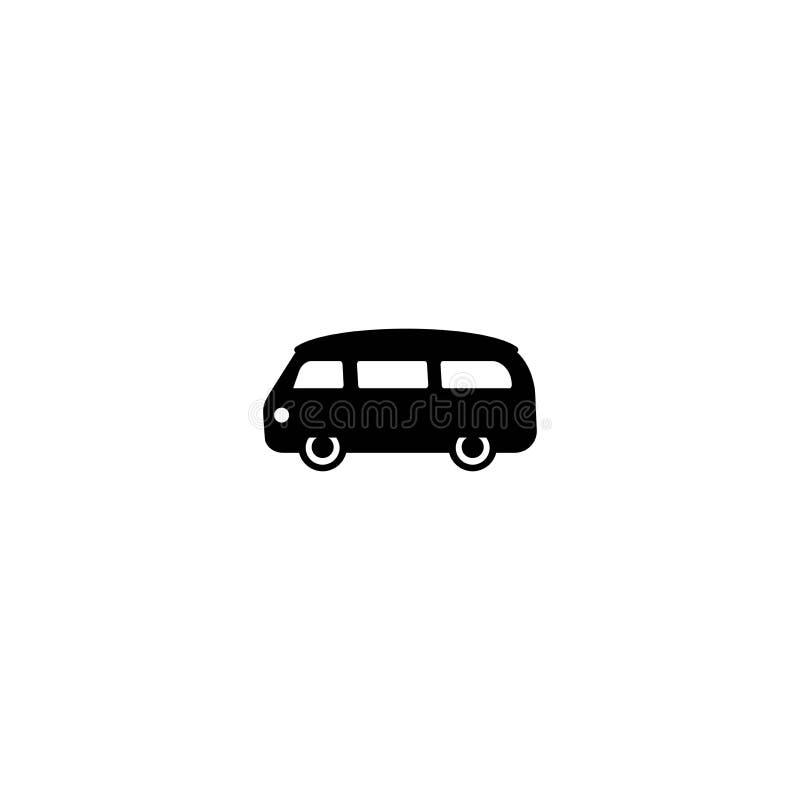Skåpbilsvartkontur Minibussvektorlinje symbol som isoleras p? vit bakgrund vektor illustrationer