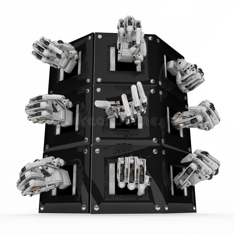 skåpet hands mekaniskt stock illustrationer
