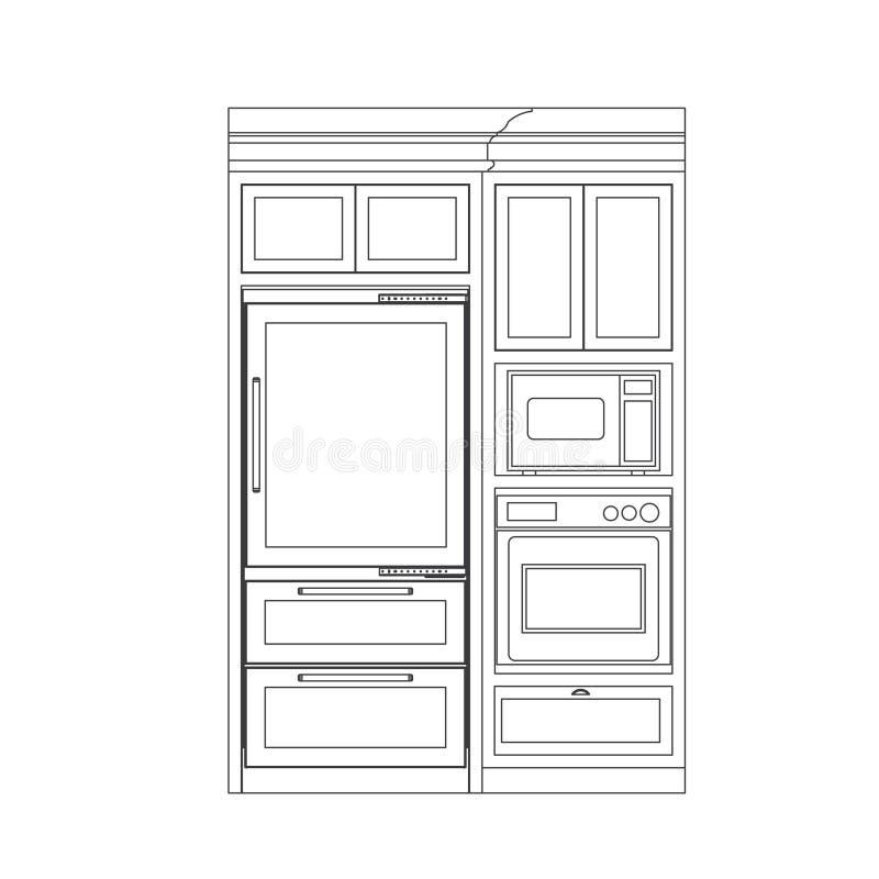 skåpkök stock illustrationer