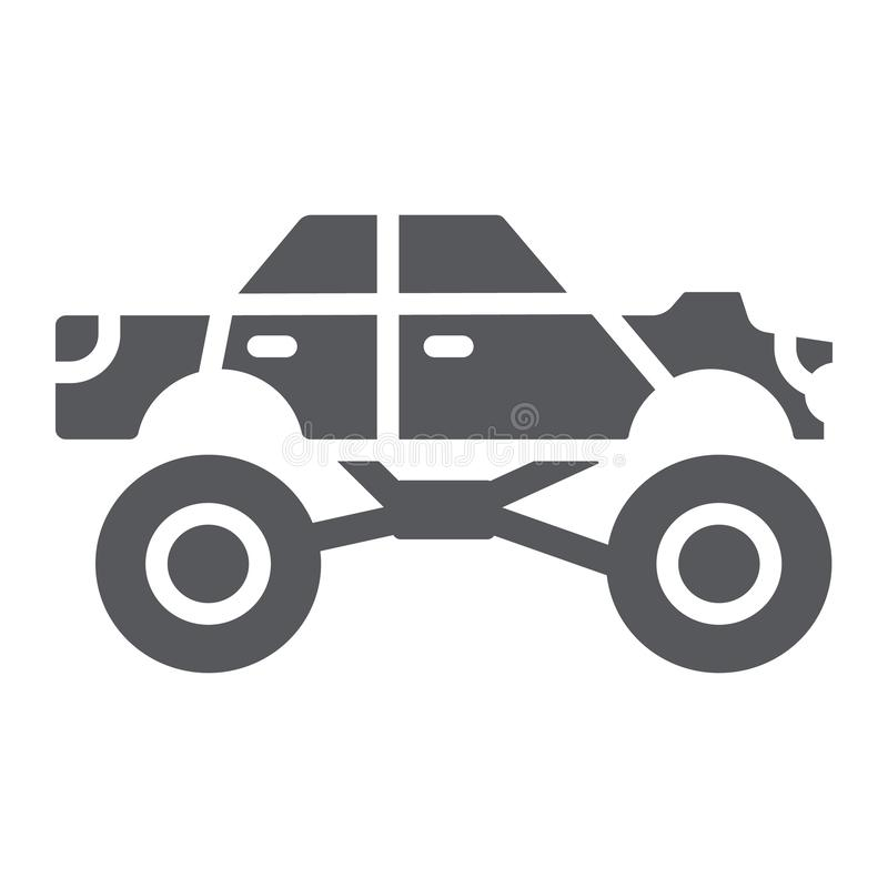 Skårasymbol för gigantisk lastbil, transport och extremt gigantiskt biltecken, vektordiagram, en fast modell på ett vitt royaltyfri illustrationer